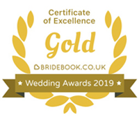 Gold Bridebook Wedding Awards 2019 Badge of Excellence